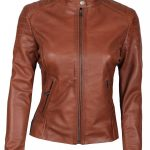 Carrie Womens Biker Padded Brown Leather Jacket
