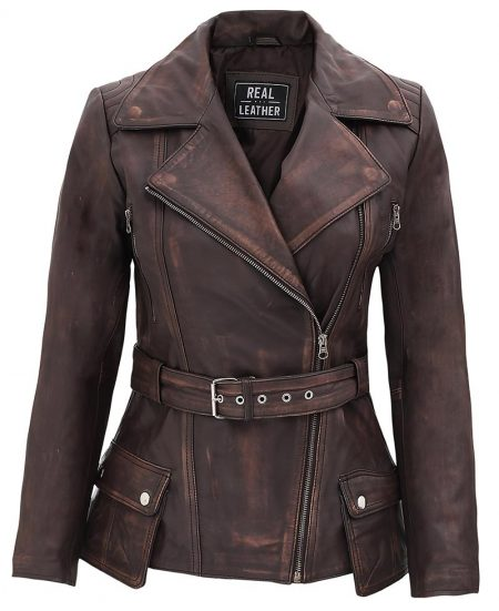 Womens Four Pocket Asymmetrical Distressed Brown Leather Biker Jacket
