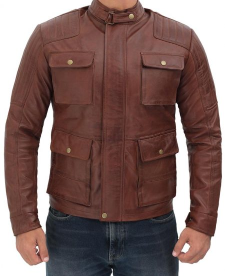 Navan Mens Four Pockets Brown Leather Cafe Racer Jacket