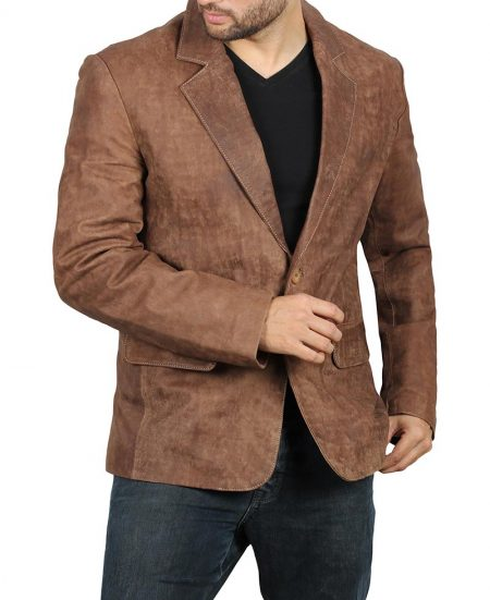 Mens Wide Notch Lapel Two Button Real Leather Brown Blazer