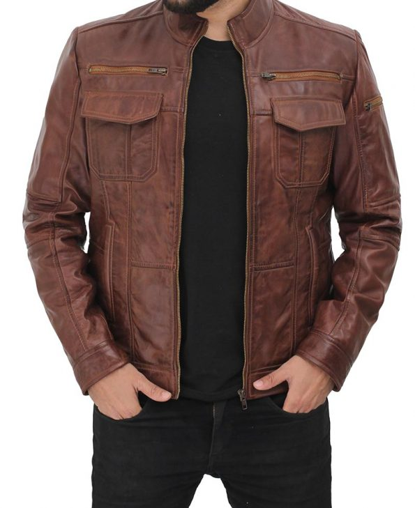 Gordon Mens Two Pockets Waxed Brown Leather Jacket