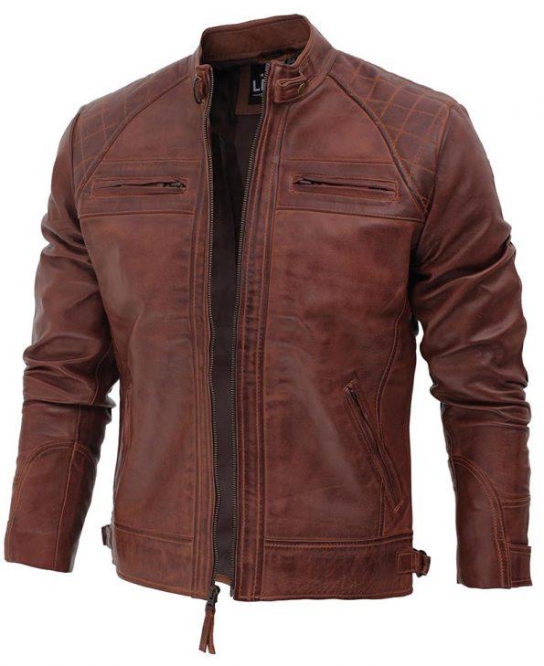 Mens Brown Distressed Motorcycle Leather Jacket