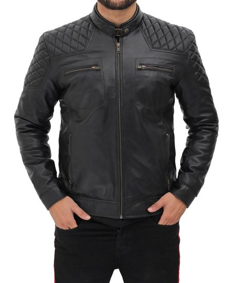 Massa Mens Quilted Shoulder Snap Collar Black Leather Cafe Racer Jacket