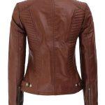 Rachel Womens Cognac Leather Jacket