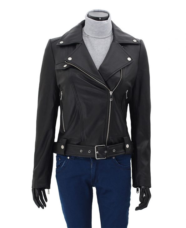 Womens Black Asymmetrical Cropped Moto Leather Jacket