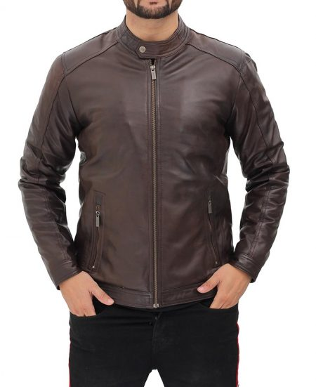 Udine Mens Waxed Dark Brown Snap Collar Leather Racer Jacket