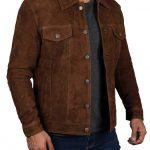 Logan Dark Brown Suede Leather Jacket for Men