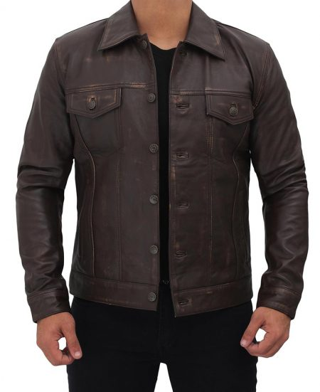 Dark Brown Trucker Leather Jacket Mens