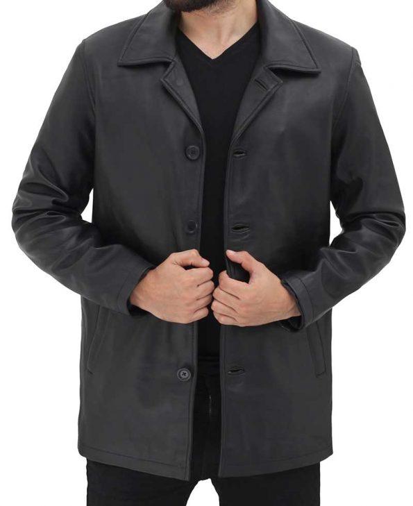 Natural Black Distressed 3 4 Length Leather Coat