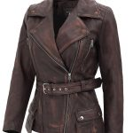 Womens Four Pocket Asymmetrical Distressed Brown Leather Biker Jacket