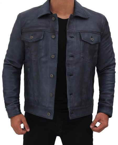 Grayish Blue Leather Trucker Jacket Mens