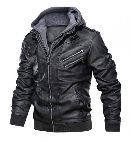 Ferndale Black Leather Jacket with Hood Mens