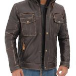 Norwich Mens Distressed Brown Leather Jacket with Hood