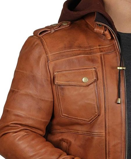 Mens Brown Leather Bomber Jacket - Removable Hood