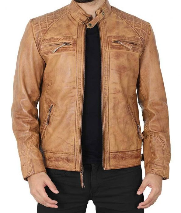 Johnson Mens Distressed Camel Brown Quilted Leather Jacket