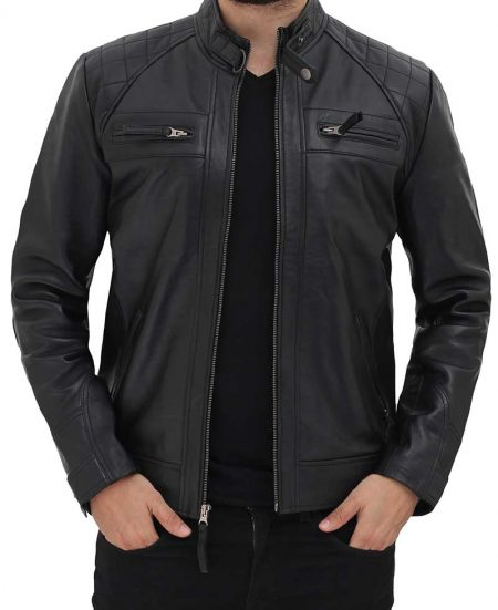 Johnson Black Leather Jacket for Men