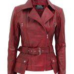 Womens Asymmetrical Burgundy Four Pocket Belted Moto Jacket