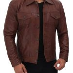 Mens Real Leather Brown Trucker Jacket
