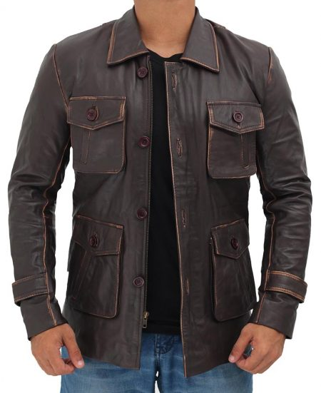 Distressed Dark Brown Leather Jacket