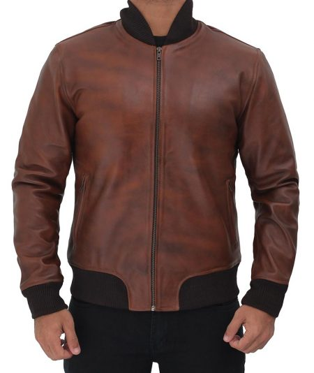 Torres Mens Leather Distressed Bomber Jacket