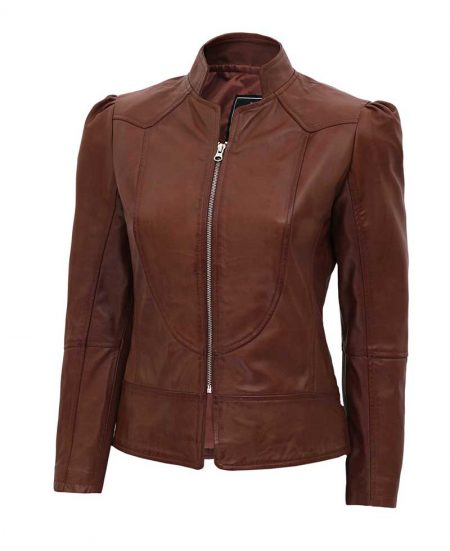 Montana Womens Brown Leather Biker Jacket