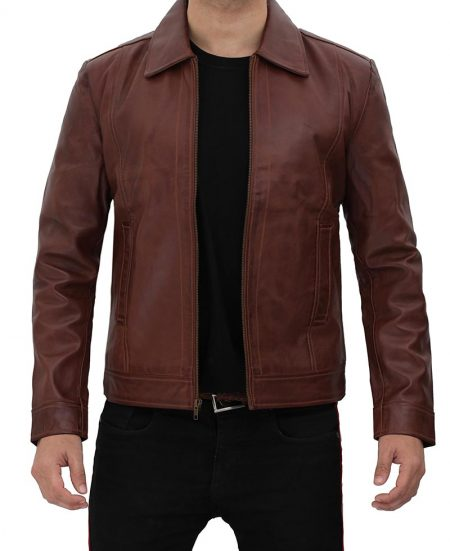 Reeves Brown Shirt Collar Front Zip Men Stylish Pebbled Leather Jacket