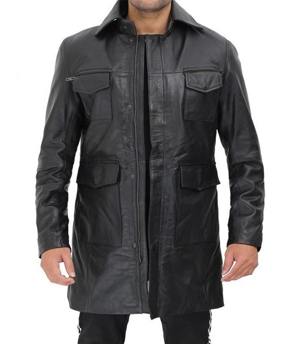 Shelby Mens Four Pocket Black Leather Shearling Lined Coat