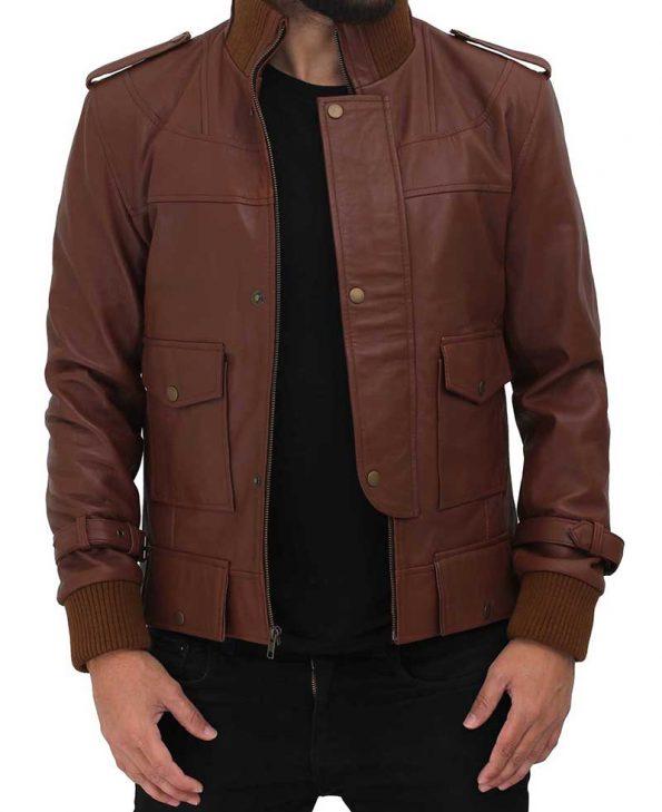 Mens Light Brown Leather Slim Fit Jacket