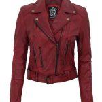 Elisa Womens Maroon Leather Motorcycle Jacket