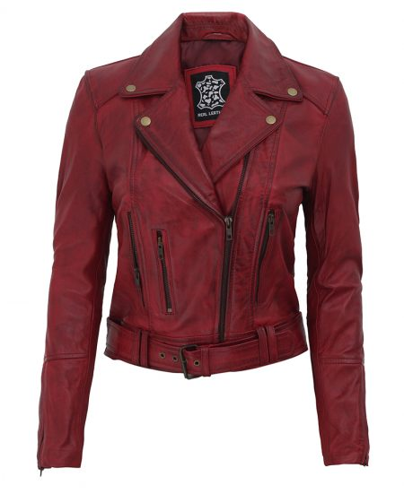 Elisa Womens Maroon Leather Motorcycle Jacket
