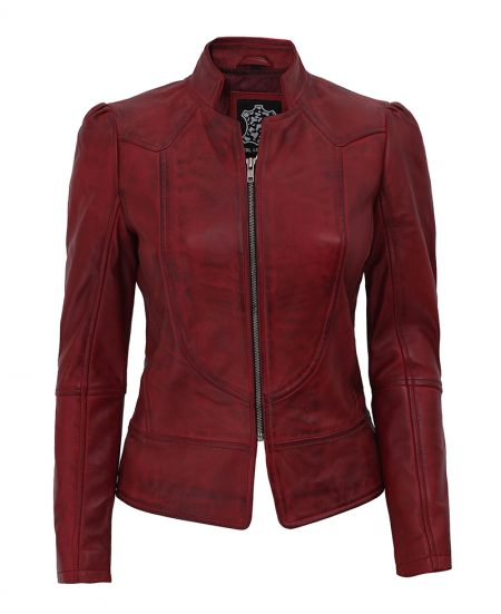 Womens Biker Slim Maroon Leather Jacket With Decorative Seams