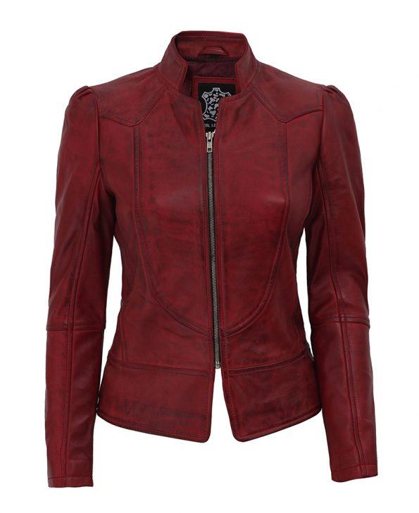 Womens Biker Slim Maroon Leather Jacket With Decorative Seams