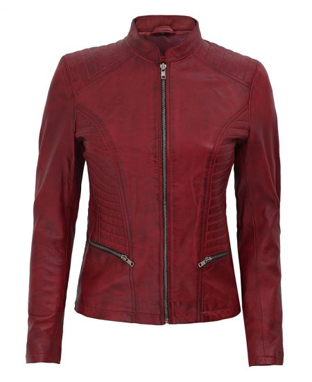 Rachel Womens Maroon Slim Fit Leather Jacket