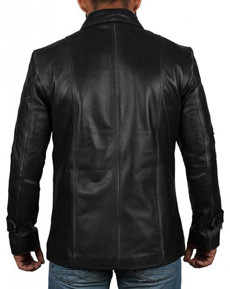Mens Lambskin Leather Four Pockets Black Jacket