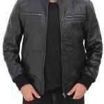 Johnston Mens Black Lambskin Bomber Leather Jacket