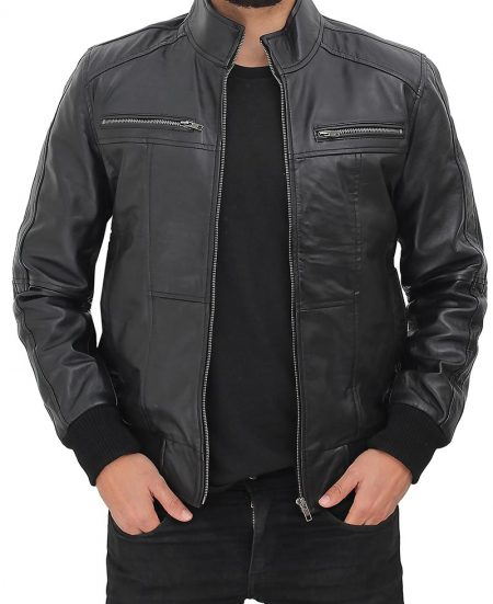 Johnston Mens Black Lambskin Bomber Leather Jacket