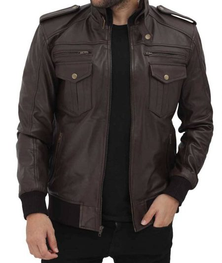 Brian Mens Bomber Dark Brown Leather Jacket