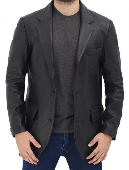Samuel 2 Buttons Leather Mens Black Blazer Jacket