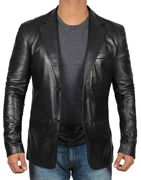 Two Button Notch Lapel Black Leather Blazer Jacket Mens