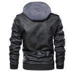 Ferndale Black Leather Jacket with Hood Mens