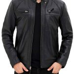 Black Mens Quilted Leather Cafe Racer Jacket With Snap Button Collar
