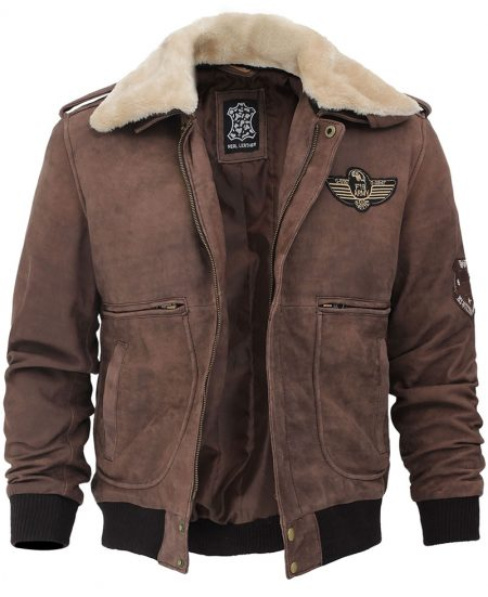 Pierson G1 Bomber Mens Leather Brown Shearling Collar Jacket