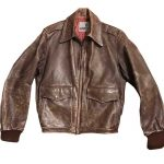 Brown Vintage Distressed Leather Mens 1950s Style Bomber Jacket