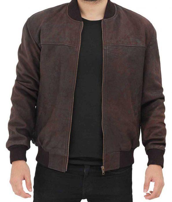 Dustin Brown Leather Bomber Jacket Men