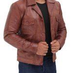 Distressed Lambskin Brown Leather Jacket