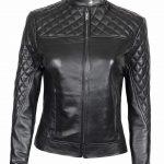 Ellen Slim Fit Ladies Black Quilted Leather Jacket