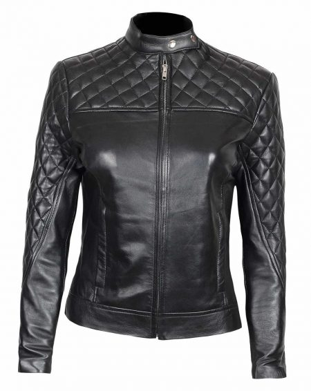Ellen Slim Fit Ladies Black Quilted Leather Jacket