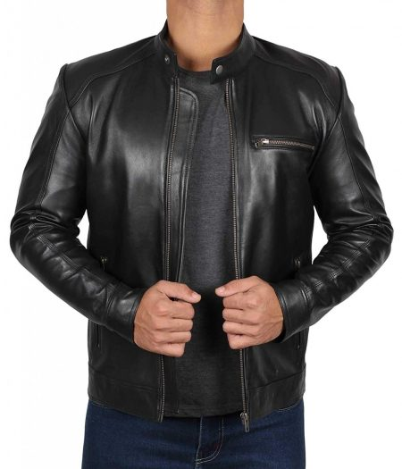 Real Lambskin Black Leather Jacket - Snap Collar Cafe Racer Style