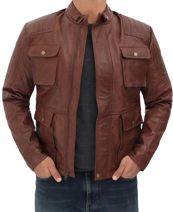 Navan Mens Four Pockets Brown Leather Cafe Racer Jacket