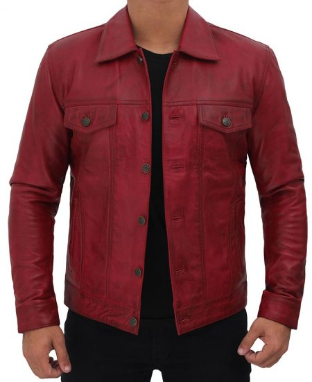 Mens Maroon Leather Trucker Jacket